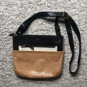 Fossil leather brown black and off white crossbody